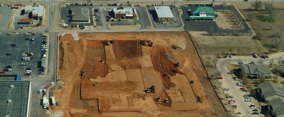 Aerial shot of building site