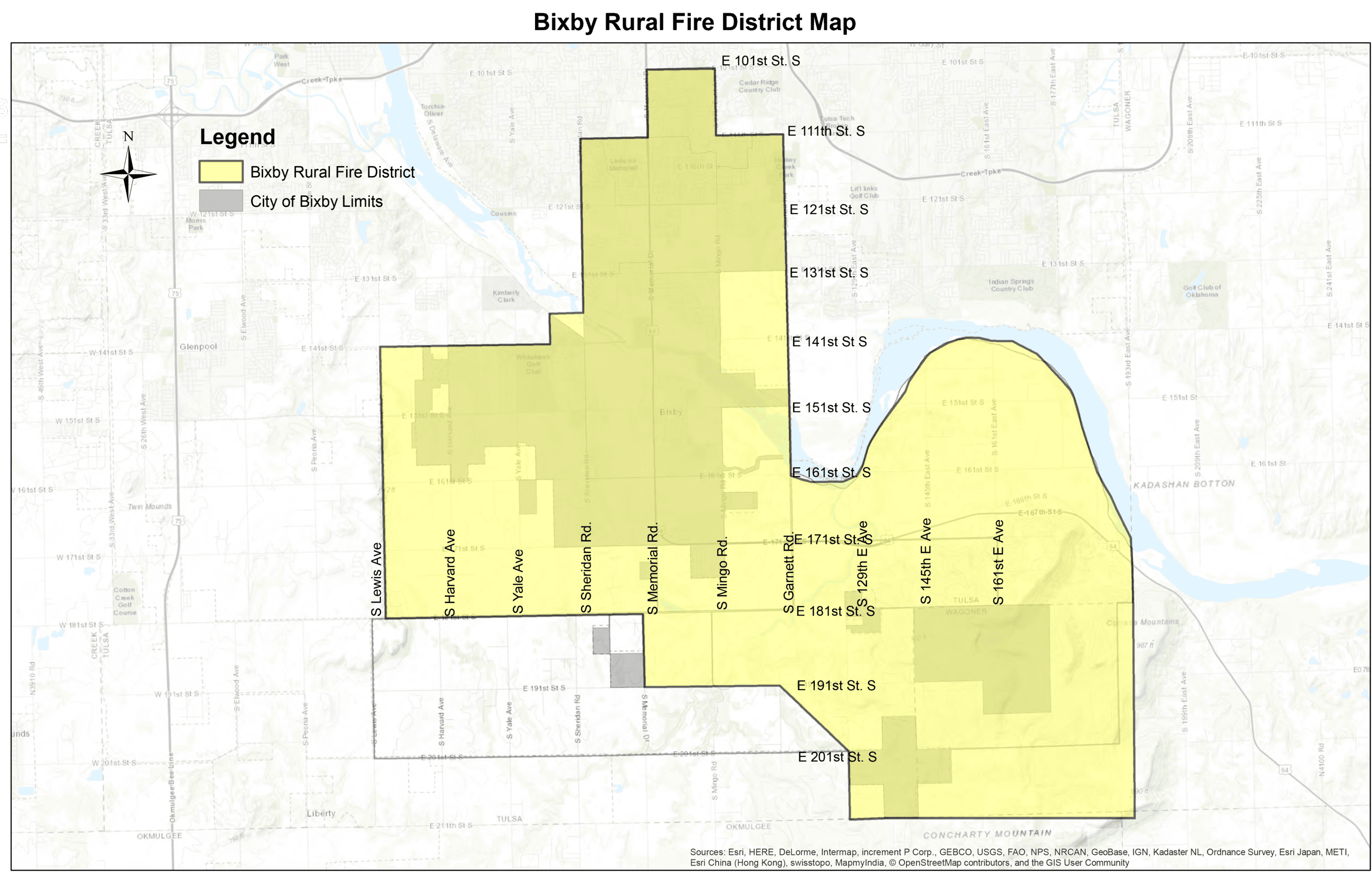 Bixby Rural Fire District map